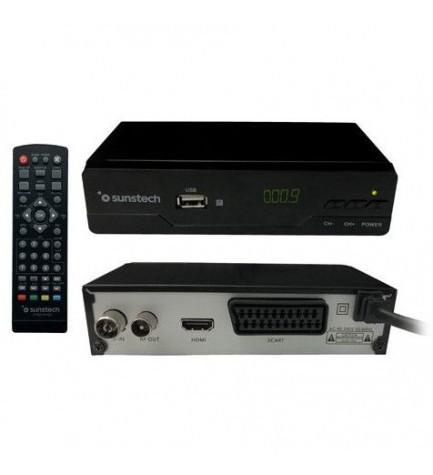 Sunstech DTB210HD2 - Receptor TDT, DVB-T2, segunda generación, puerto USB, incluye mando, color Negro