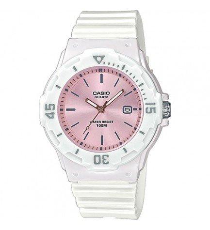 Casio LRW-200H-4E3 - Reloj, material caucho, esfera rosa, color Blanco