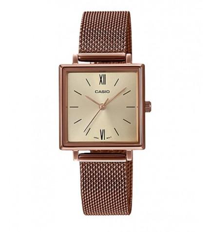 Casio LTP-E155MR-9B - Reloj, material malla, diseño cuadrado, color Cobre