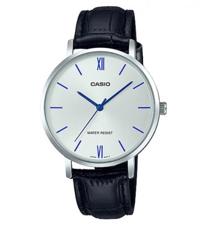 Casio LTP-VT01L-7B1 - Reloj, material piel, esfera plata azul