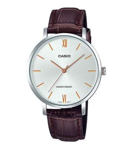Casio LTP-VT01L-7B2 - Reloj, material piel, esfera plata cobre