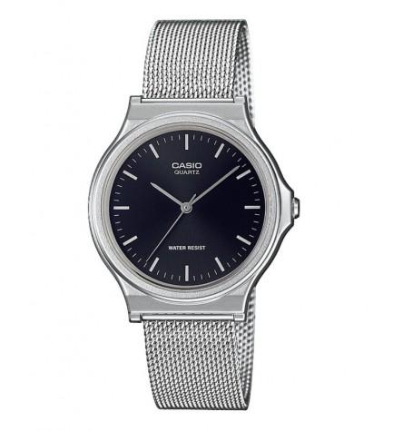 Casio MQ-24M-1E - Reloj, material malla, esfera negra, color Plata