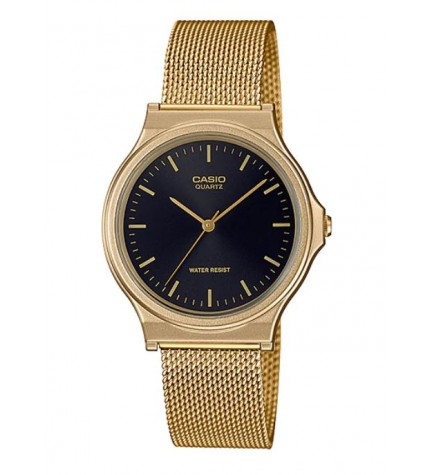 Casio MQ-24MG-1E - Reloj, material malla, esfera negra, color Dorado