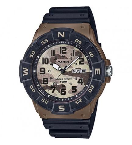 Casio MRW-220HCM-1B - Reloj, material caucho, esfera militar, color Negro