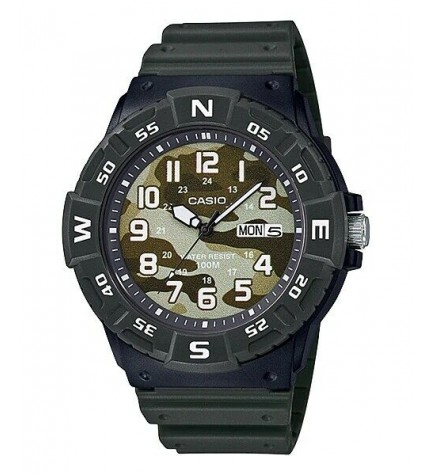 Casio MRW-220HCM-3B - Reloj, material caucho, esfera militar, color Verde