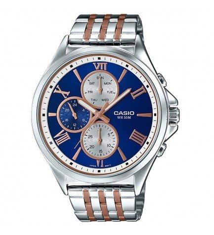 Casio MTP-E316RG-2A - Reloj, material acero, esfera azul bronce