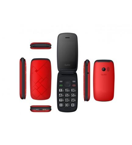 QUBO NEO - Teléfono móvil, pantalla 2.4 pulgadas, bluetooth, color Rojo