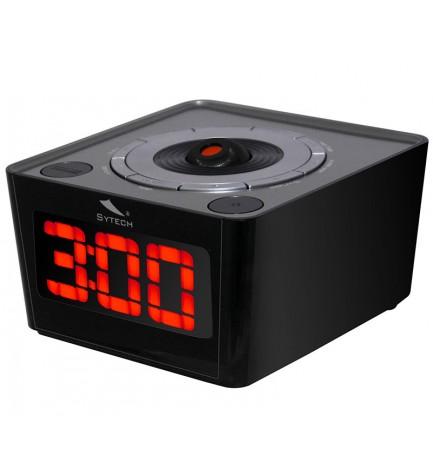 Sytech SY1034 - Despertador, proyector incorporado, sintonizador FM, color Negro