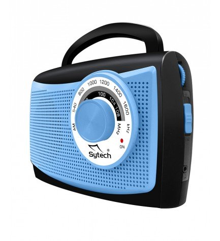 Sytech SY1652A - Radio, portátil, sintonizador AM FM, color Azul