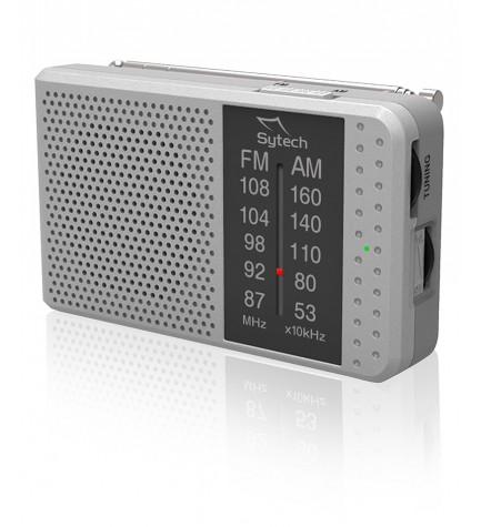 Sytech SY1662 - Radio, de bolsillo, portátil, horizontal, sintonizador AM FM, color Plata