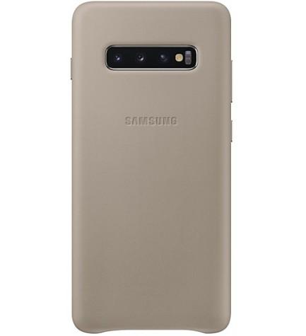 Samsung EF-VG975L Leather Cover - Funda, para Galaxy S10 Plus, color Gris