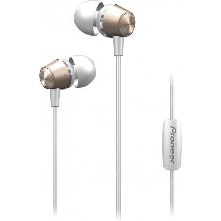 Pioneer SE-QL2T(G) Auriculares intraaurales, cuerpo de aluminio, panel de control, micrófono, manos libres, color Dorado