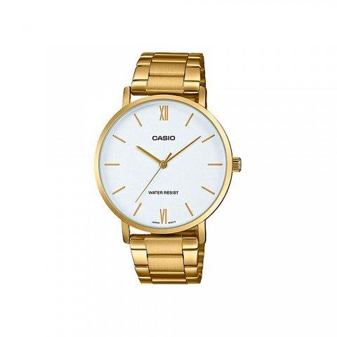 Reloj CASIO MTP-VT01G-7B, esfera blanca, color Dorado