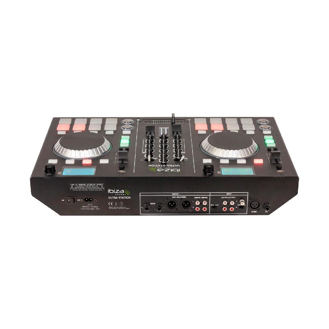 Mesa de Mezclas Ibiza Sound ULTRA-STATION, 2 Canales, Doble lector CD y Bluetooth, color Negro