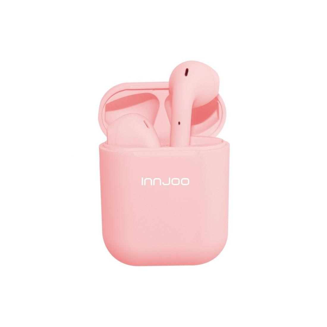 Auriculares INJOO GO V4, estuche de carga 550mAh, Bluetooth, color Rosa