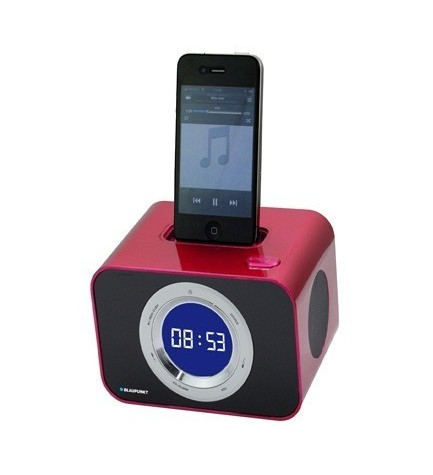 Blaupunkt IClock-10 - Radio despertador con DockStation iPhone/iPod, 3w, FM, alarma, color Rojo