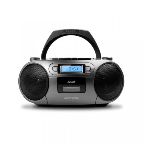 Radio cassete AIWA BBTC-550, FM, CD, MP3, USB, Bluetooth, color Gris