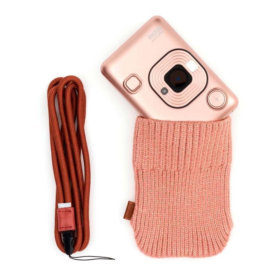 Cámara Fujifilm Instax Mini LiPlay Elegant + correa + funda, color Dorado