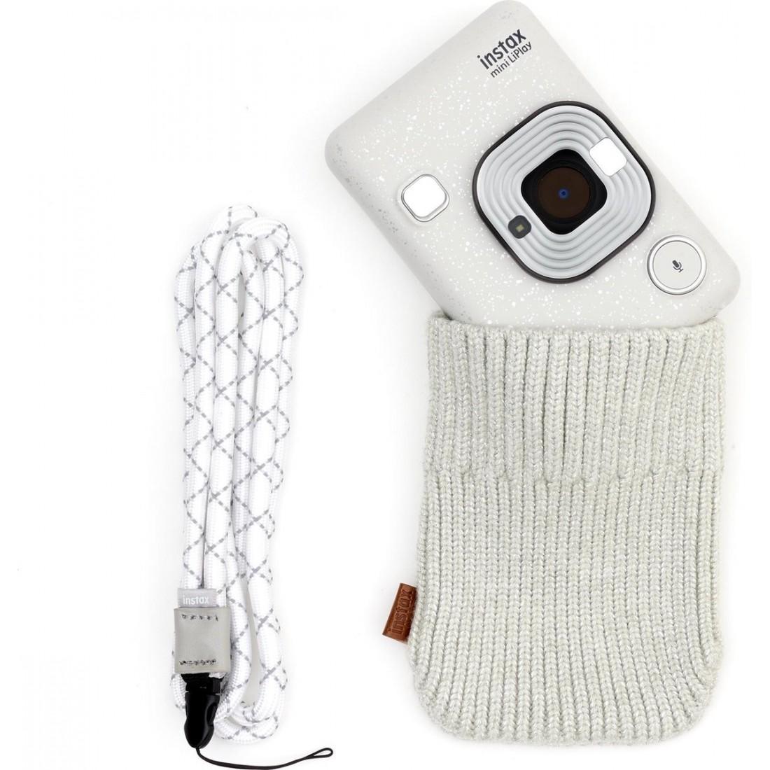Cámara Fujifilm Instax Mini LiPlay Elegant + correa + funda, color Blanco