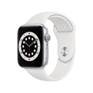Apple Watch Series 6 GPS, 44 mm Caja de aluminio en plata - Correa deportiva blanca talla única