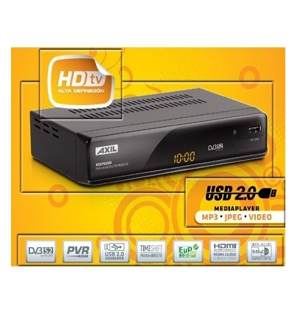 AXIL RS0761HD - Receptor satélite HD, USB 2.0 con función PVR, Timeshift, DVB S2 y conexión HDMI