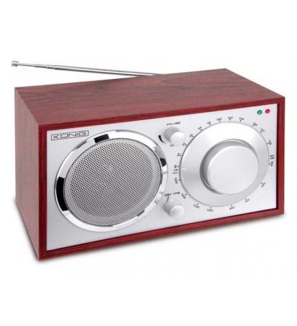 KONIG HAV-TR10 - Radio Retro tipo madera, Radio AM/FM, Toma de auricular, color Cerezo