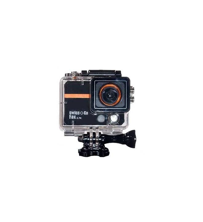 Swiss+GO FOX - Cámara de acción, 12.4 Mpx, ángulo de visión 170 grados, sumergible 50 metros con carcasa, resolución 2.7K
