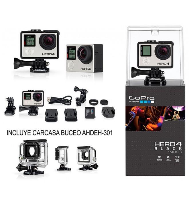 GoPro Hero 4 Music - Cámara de acción, incluye Carcasa de buceo, 4K, sumergible 40m, WiFi, Bluetooth, color Negro