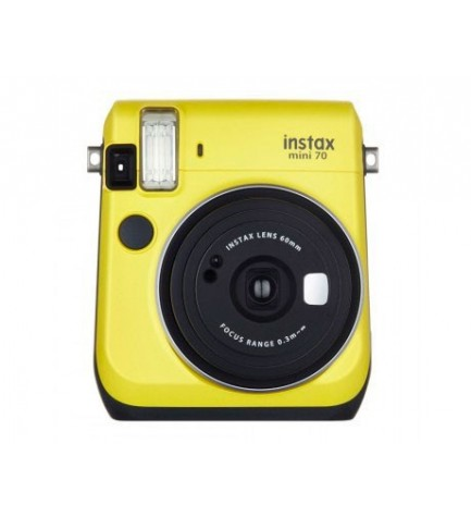 Fujifilm Instax Mini 70 - Cámara instantánea, flash, modo selfie, color Amarillo