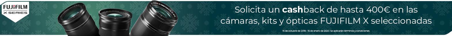 Cashback de hasta 400€ en las cámaras, kits y ópticas FUJIFILM seleccionadas